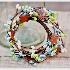 "2"" Candle Ring-Pip Berries/Rusty Tin Stars- Pale Green, Pale Blue, Cream"