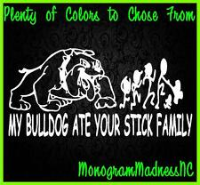 MY BULLDOG ATE YOUR STICK FAMILY VINYL DECAL STICKER LAPTOP MACBOOK TABLET