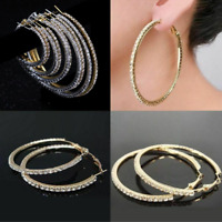 Small to Large Silver Gold Rhinestone Crystal Hoop Earrings Big Circle Celebrity