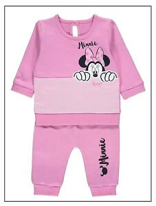 Disney Baby Girls Minnie Mouse Pink Sweatshirt & Joggers 2 Piece Outfit 0-3 Mths