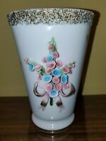 Vintage Lefton Hand Painted-Beautiful Pale Pink Vase-Raised Flowers-Gold Trim