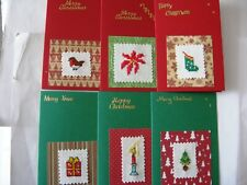 Christmas Cards Completed Cross Stitch Mixed pack of 6 Cards L4