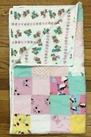 "Vintage Reversible Baby Crib Quilt Blanket with Teddy Bears Handmade 30"" x 54"""