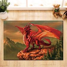Door Mat Bathroom Rug Bedtoom Carpet Bath Mats Non-Slip Red Dragon and forest