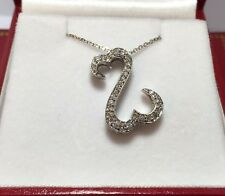Jane Seymour Kays 14k White Gold 1/4 Ct Diamond Pave Open Heart Pendant Necklace
