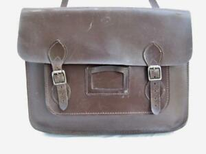 Large vintage leather school bag   Traditional satchel   A bag with character