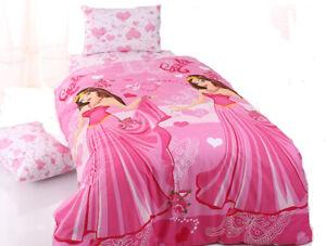 KESTEX Bettwäsche Prinzessin Girls Pink 100% Baumwolle 135 x 200 cm + 80 x 80 cm