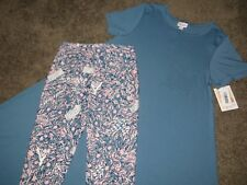 LuLaRoe SOLID Blue (XS) Carly Dress & Blue & Pink Floral Print OS Leggings NWT