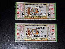 Lot of 2 Auburn vs Florida State (FSU) football tickets (1987) - 34-6 FSU win