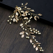 Vintage Bridal Leaves Pearl Hair Clip Head Piece Headband Hair Band Comb Tiara