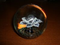 MURANO ITALY FERRO & LAZZARINI BLUE & WHITE FLOWER PAPERWEIGHT WITH TAG