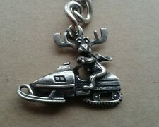 FREE ENGRAVING (PERSONALIZED) Moose on Snowmobile (Redneck) Key Chain Key Ring
