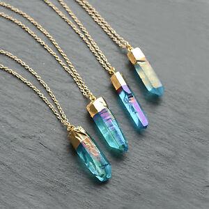 Bright Turquoise Angel Quartz Crystal Stone Necklace-Boho Aura Gold Rainbow-Gift
