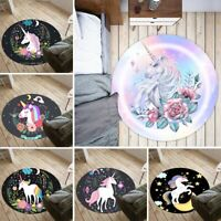 Cute Unicorn Print Non-slip Round Soft Area Rug Floor Carpet Door Mat Home Decor