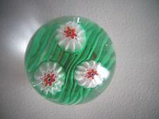 Vintage FRATELLI TOSO Murano Art Glass Paperweight Millefiori w/ Label Green ROD