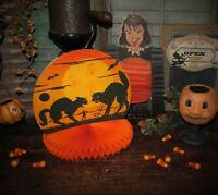 Primitive Antique Vtg Style Halloween Black Cat Moon Paper Honeycomb Rosette