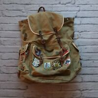 Vintage Canvas Rucksack Backpack External Frame Hiking Pack Leather 60s Swedish