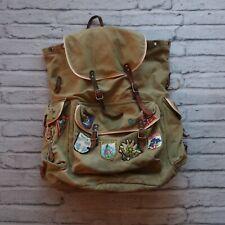 Vintage Canvas Rucksack Backpack External Frame Hiking Pack Leather 60s Swedish