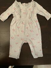 Janie And Jack Baby Girl 3-6 Month Long Sleeve Floral One Piece EUC!