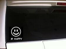 "# Happy Vinyl Car Decal 6"" *B8*  sticker Smiley face hash tag laptop skin"