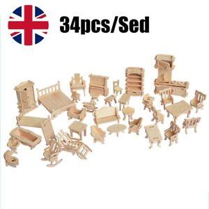 34Pcs/Set Vintage Wooden Furniture Dolls House Miniature Toys Kids Gifts New
