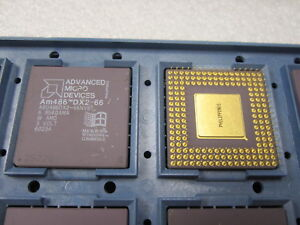 Intel i486DX2 A80486DX2-66 Ceramic Gold CPU Processor 66MHz A80486DX2-66NV8T