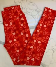 NEW LuLaRoe OS Leggings HEART Love Wedding Red Pink Peach Burgundy Lace Bride