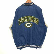 Lee Vintage Denim 90s Green Bay Packers NFL Jean Jacket Bomber Mens Size Large