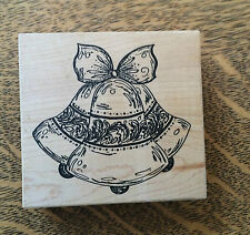 "Christmas Bells Holiday Wooden Rubber Stamp Card Stamp 3.25 x 3.5"" Large"