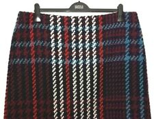 M&S Marks s22L Luxe Black Mix Bold Check With Wool Boucle Aline Mini Skirt BNWT