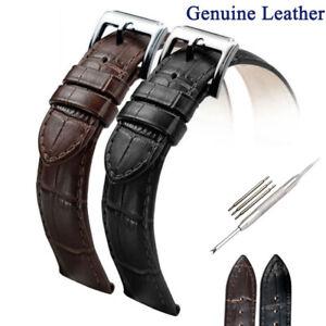 Mens Genuine Leather Watch Strap Black Wristwatch Belt Band 16 18 19 20 22 24mm
