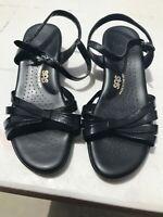 SAS Women's Black Leather Strappy Slingback Open Toe Comfort Sandals Size 11WW