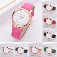 Fashion Womens Quarzt Analog Watch Leather Strap Golden Line Pointer Wrist Watch