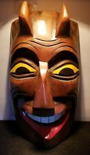 VINTAGE WOODEN HAND CARVED SATAN DEVIL FACE MASK TRIB FOLK ART WALL HANGING