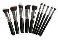Pro 10 pcs black brush set Flat top foundation Face powder Contour High quality