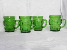 "4 Vintage Wheaton Glass Emerald Green Bulls Eye 10 oz. Coffee Mugs 4"""