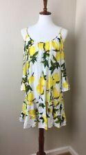 Solitaire Swim Lemon Print Coverup Bell Sleeve Off Shoulder Womens Size Small