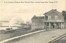 A View of the N.Y.C. & H.R. R.R. Track Crossing Cayuga Lake, Cayuga NY 1909