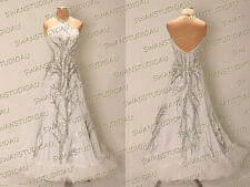 A NEW READY TO WEAR WHITE GEORGETTE BALLROOM DANCE COMPETITION DRESS SIZE:6-8