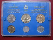 Finland Finnish Suomi 1987 Official 6 UNC Coin Mint 5 Pennia - 5 Markkaa cased