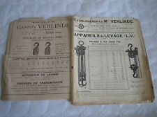 vintage catalogue 1921 Cranes windlass lifting devices pulleys Verlinde french
