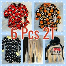 Boys size 2T Clothes Lot of 6 Pants Tops Pajamas Fall And Winter