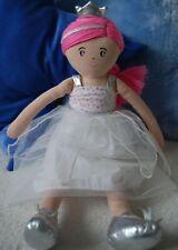 Marks & Spencer Rag Doll 'Kate' Princes Ballerina White Floral Dress Pink Hair
