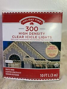 Holiday Time 300 ct High Density Clear Icicle Lights White 10 Feet Long New!