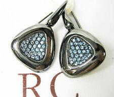 $880 Roberto Coin 6.5 Capri Plus Silver 0.82 tw Blue Topaz Ruthenium Ring Gift