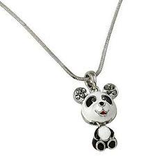 Nodding Head Panda Bear Pendant Necklace New Crystal B & W Cute