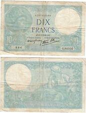 Banque France billet 10 Francs Minerve 1942 RARE / WW II 10 F french bank note