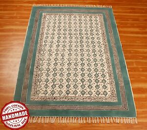 Indien Hand Block Printed Cotton Dhurrie New Look Carpet 5x8 6x9 Turquoise, Blue