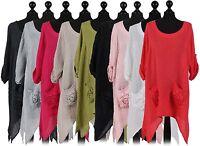 New Ladies Italian Front Pocket Tunic Top Women Lagenlook Linen Top Plus Sizes