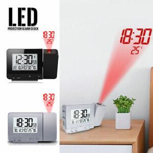 LED Digital Alarm Clock Projection FM Radio Time Temperature Projector Snooze AU